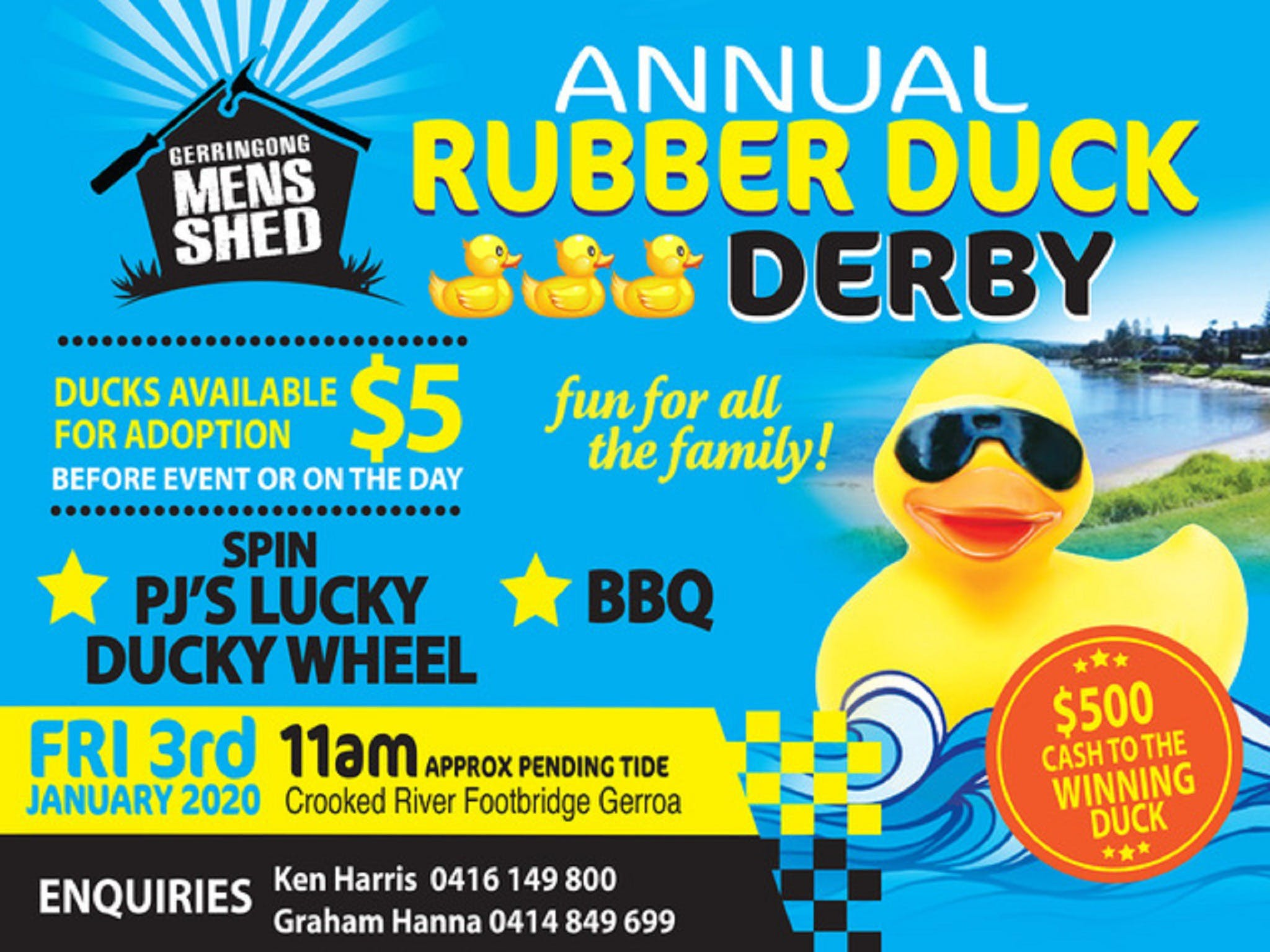 Gerringong Mens Shed Annual Duck Derby - Accommodation Brunswick Heads